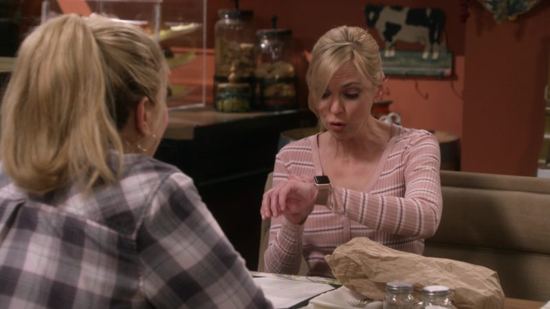Apple SmartWatches Worn by Anna Faris in Mom - Season 6, Episode 19, Lumbar Support and Old Pork (2019) TV Show Product Placement