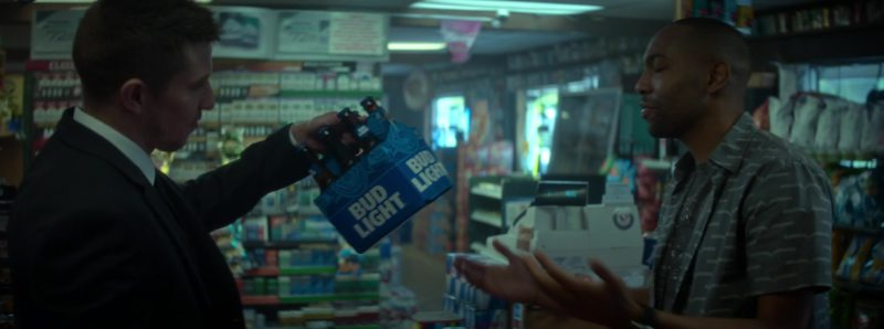 Bud Light Beer Pack Held by Beau Knapp in Crypto (2019) Movie Product Placement