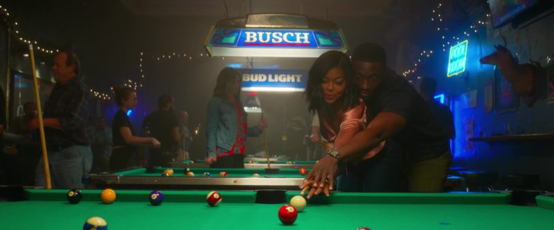 Busch Beer and Bud Light Pool Table Lights in What Men Want (2019) Movie Product Placement