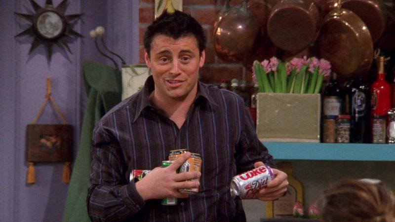 "Diet Coke Held by Matt LeBlanc (Joey Tribbiani) in Friends Season 9 Episode 15 ""The One With the Mugging"" (2003) TV Show"