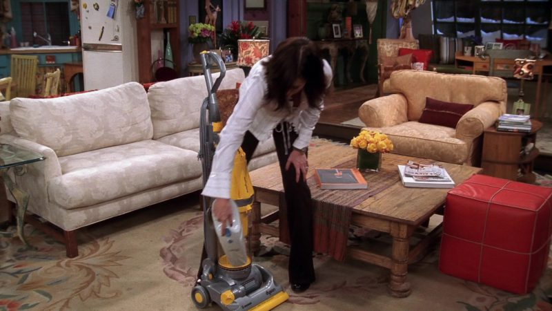 """Dyson Vacuum Cleaner Used by Courteney Cox (Monica Geller) in Friends Season 10 Episode 10 """"The One Where Chandler Gets Caught"""" (2004) - TV Show Product Placement"""