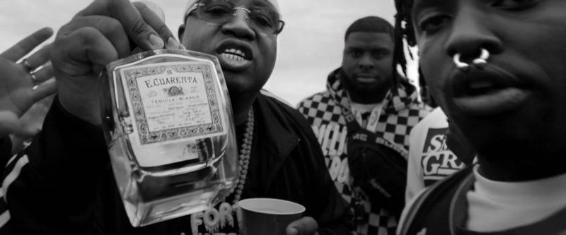 """E. Cuarenta Tequila Held by E-40 Rapper in """"West Coast"""" by G-Eazy feat. Blueface, ALLBLACK & YG (2019) Official Music Video Product Placement"""