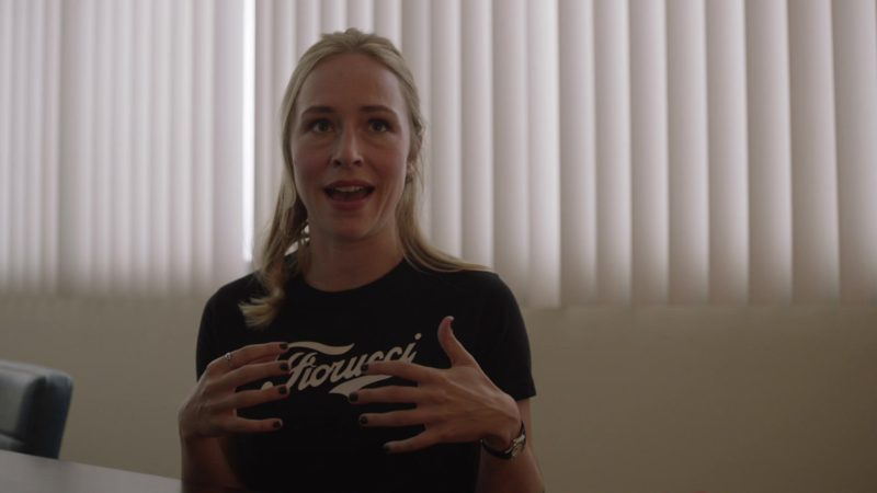 Fiorucci Black T-Shirt Worn by Sarah Goldberg (Sally Reed) in Barry - Season 2, Episode 2, The Power of No (2019) - TV Show Product Placement