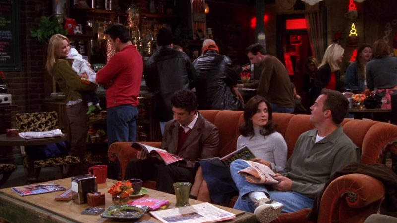 "Forbes Magazine Held by Courteney Cox (Monica Geller) and Puma Shoes Worn by Matthew Perry (Chandler Bing) in Friends Season 9 Episode 12 ""The One With Phoebe's Rats"" (2003) TV Show Product Placement"