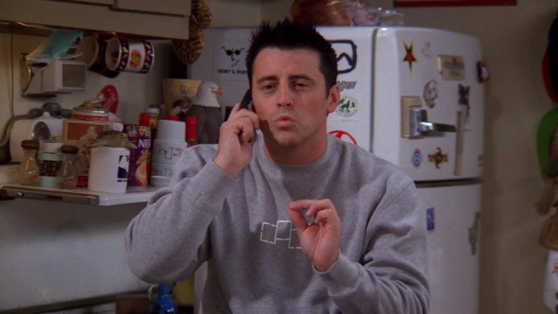 "Foursquare Sweatshirt Worn by Matt LeBlanc (Joey Tribbiani) in Friends Season 9 Episode 9 ""The One With Rachel's Phone Number"" (2002) - TV Show Product Placement"
