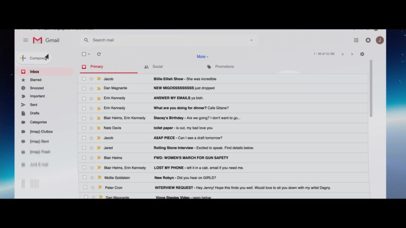 Gmail by Google in Someone Great (2019) - Movie Product Placement