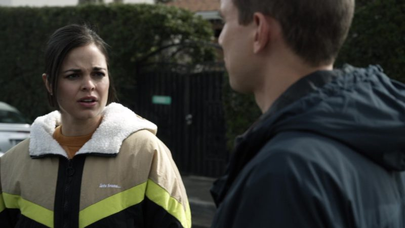 """Urban Outfitters """"Iets Frans..."""" Jacket Worn by Lina Esco in SWAT - Season 2, Episode 18, Cash Flow (2019) - TV Show Product Placement"""