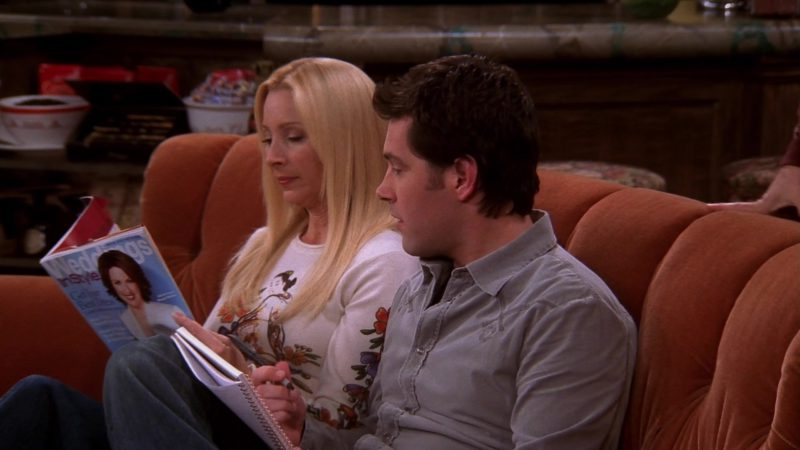 """InStyle Weddings Magazine Held by Lisa Kudrow (Phoebe Buffay) in Friends Season 10 Episode 7 """"The One With the Home Study"""" (2003) - TV Show Product Placement"""