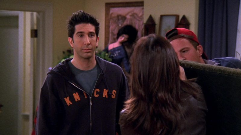 "Knicks Hoodie Worn by David Schwimmer (Ross Geller) in Friends Season 9 Episode 16 ""The One With the Boob Job"" (2003) - TV Show Product Placement"