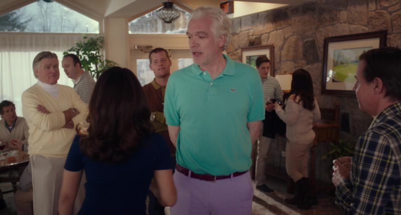 Lacoste Men's Green Polo Shirt in Drunk Parents (2018) - Movie Product Placement