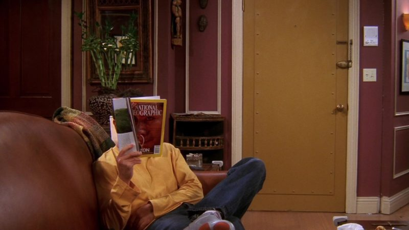 """National Geographic Magazine Held by David Schwimmer (Ross Geller) in Friends Season 10 Episode 3 """"The One with Ross's Tan"""" (2003) - TV Show Product Placement"""