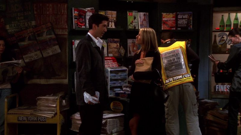 """New York Post Newspapers in Friends Season 8 Episode 5 """"The One with Rachel's Date"""" (2001) TV Show Product Placement"""