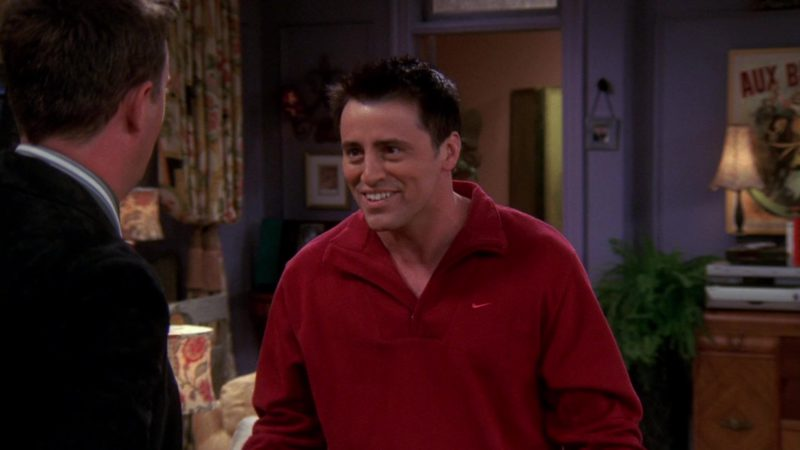 """Nike Red Sweatshirt Worn by Matt LeBlanc (Joey Tribbiani) in Friends Season 10 Episode 6 """"The One With Ross's Grant"""" (2003) TV Show Product Placement"""
