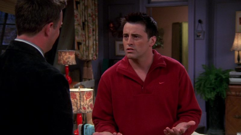 """Nike Red Sweatshirt Worn by Matt LeBlanc (Joey Tribbiani) in Friends Season 10 Episode 6 """"The One With Ross's Grant"""" (2003) - TV Show Product Placement"""