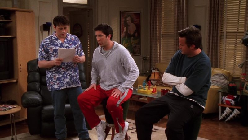 "Nike Red Track Pants and White Sneakers Worn by David Schwimmer (Ross Geller) in Friends Season 8 Episode 20 ""The One With the Baby Shower"" (2002) - TV Show Product Placement"