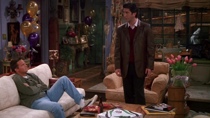 """Pizza Hut and Puma Sneakers Worn by Matthew Perry (Chandler Bing) in Friends Season 9 Episode 12 """"The One With Phoebe's Rats"""" (2003) TV Show Product Placement"""