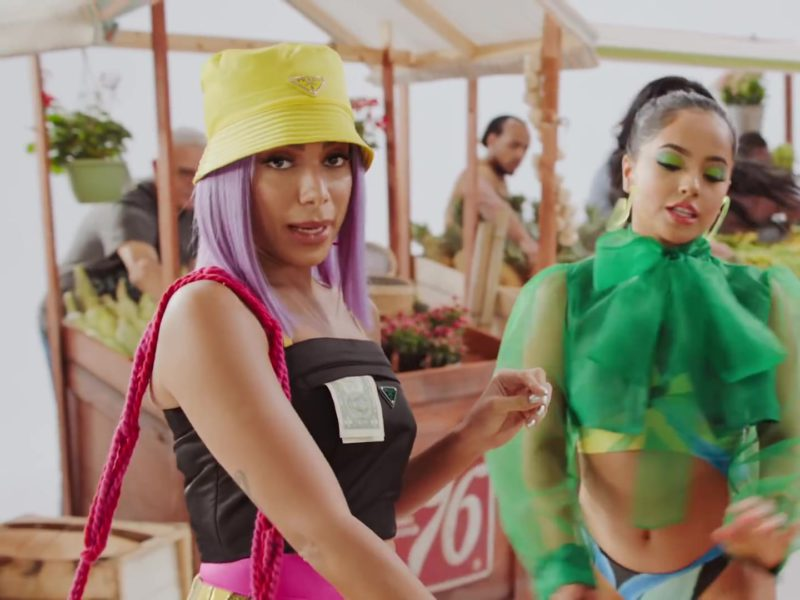 "Prada Yellow Logo Bucket Hat and Black Top Worn by Anitta in ""Banana"" (2019) - Official Music Video Product Placement"