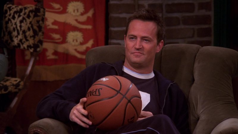 "Spalding Basketball Held by Matthew Perry (Chandler Bing) in Friends Season 10 Episode 7 ""The One With the Home Study"" (2003) - TV Show Product Placement"