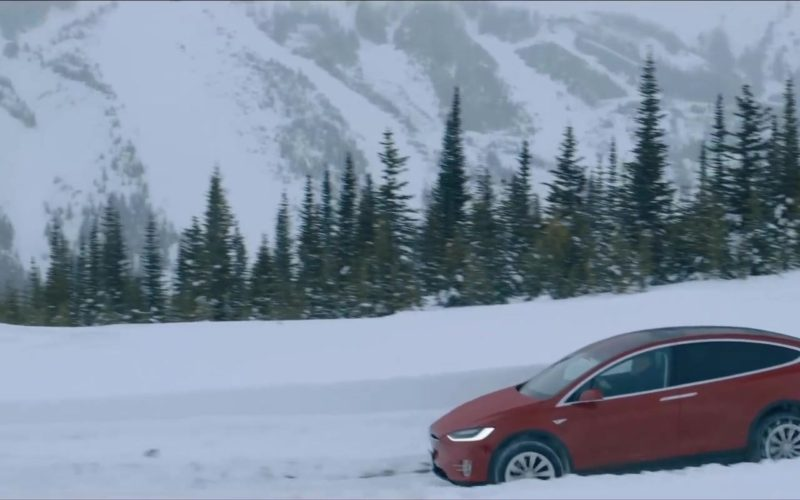 Tesla Model X Red SUV in Cold Pursuit (1)