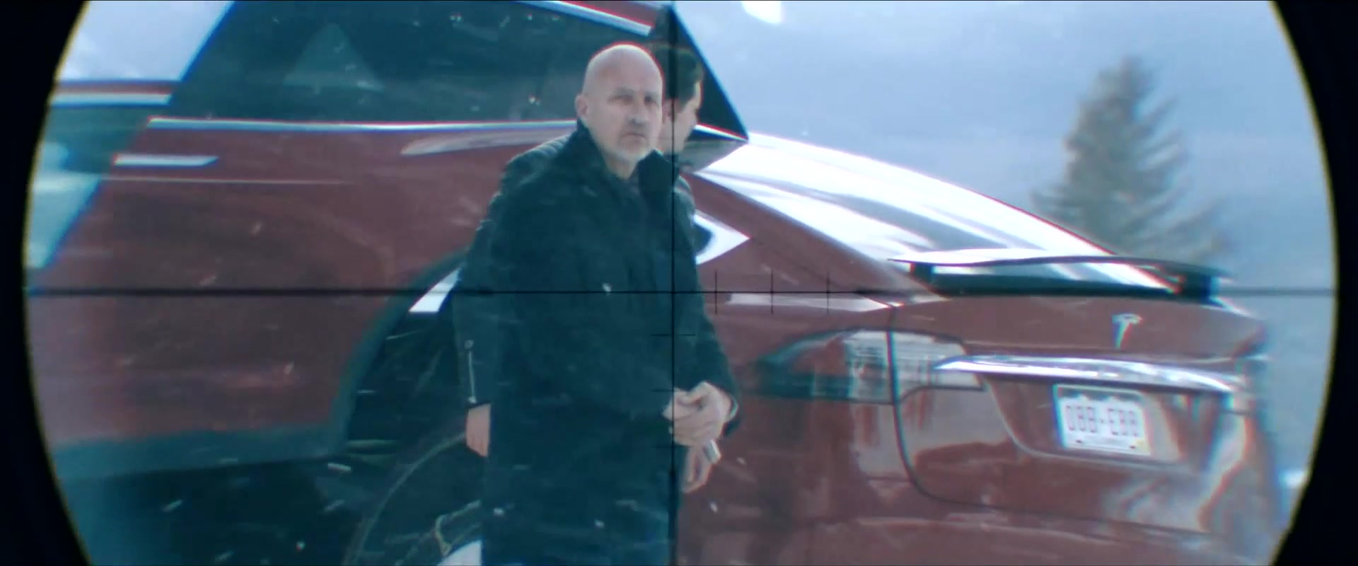 Tesla Model X Red SUV in Cold Pursuit (2019) Movie