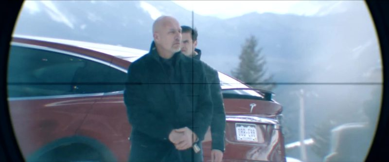 Tesla Model X Red SUV in Cold Pursuit (2019) - Movie Product Placement