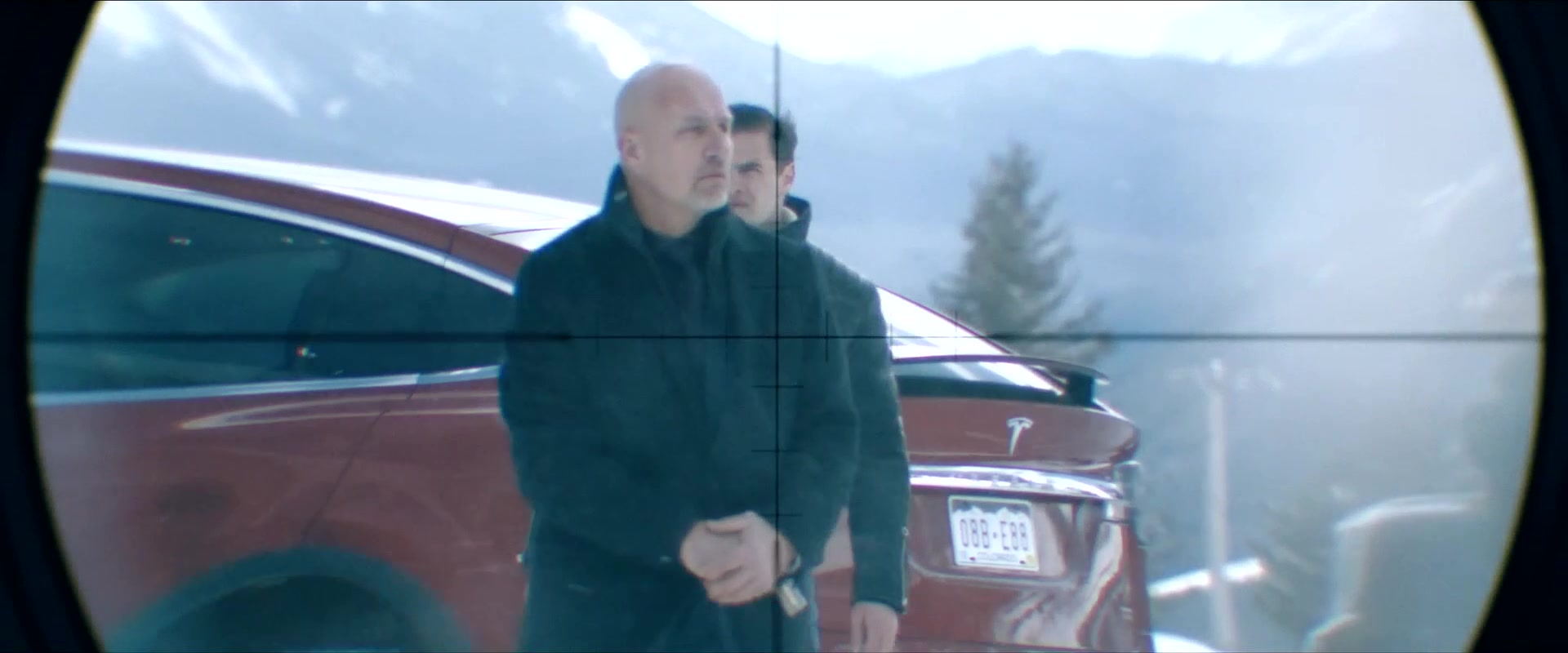 Tesla Model X Red Suv In Cold Pursuit 2019 Movie