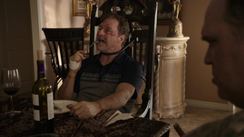 Travis Mathew M Logo Polo Shirt Worn by Stephen Root in Barry - Season 1, Episode 3, Chapter Three: Make the Unsafe Choice (2018) TV Show Product Placement