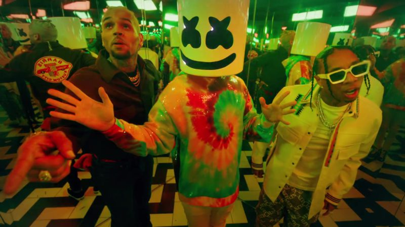 "Valentino Pants With VLTN Logo Worn by Tyga in ""Light It Up"" by Marshmello ft. Chris Brown (2019) - Official Music Video Product Placement"