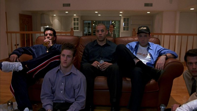 Nike Jordan Sneakers and Nike Pants Worn by Nicky Katt, Hustler Cap and Trojan T-Shirt Worn by Ben Affleck and Miller Beer in Boiler Room (2000) - Movie Product Placement