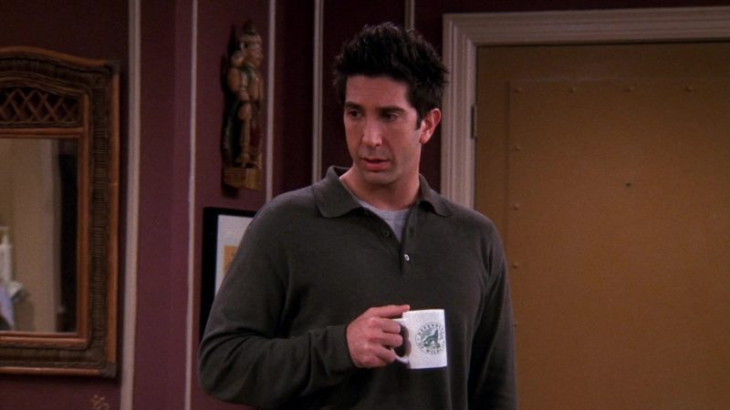 """Defenders of Wildlife 501 non-profit conservation organization mug held by David Schwimmer (Ross Geller) in Friends Season 9 Episode 8 """"The One With Rachel's Other Sister"""" (2002) - TV Show Product Placement"""