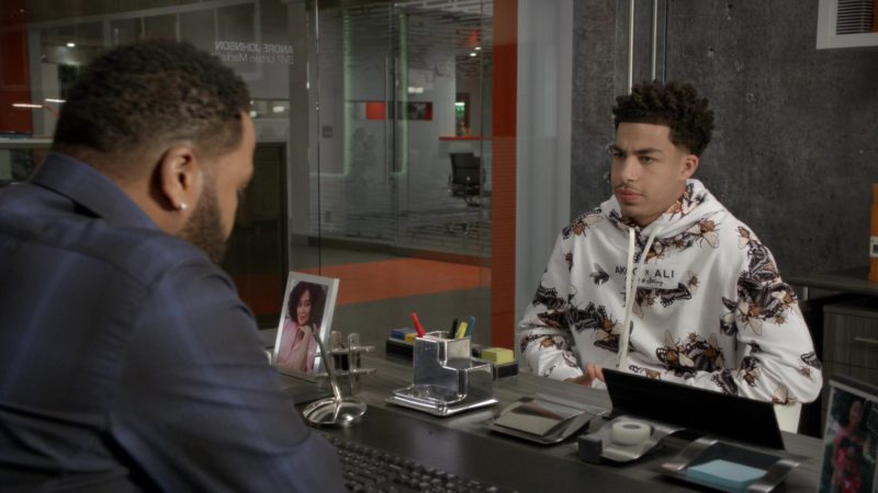 Akoo x Alie Float Hoodie (Bleached White) Worn by Marcus Scribner in Black-ish - Season 5, Episode 23, Relatively Grown Man (2019) TV Show Product Placement