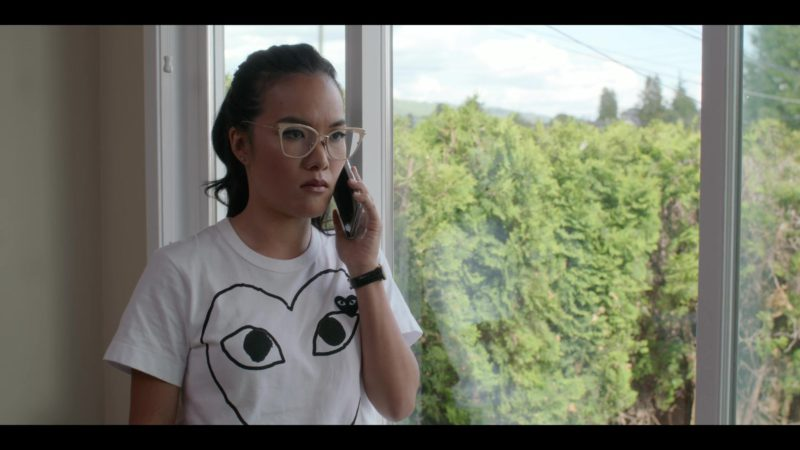 Comme des Garçons White T-Shirt With Hearts Logos Worn by Ali Wong in Always Be My Maybe (2019) - Movie Product Placement