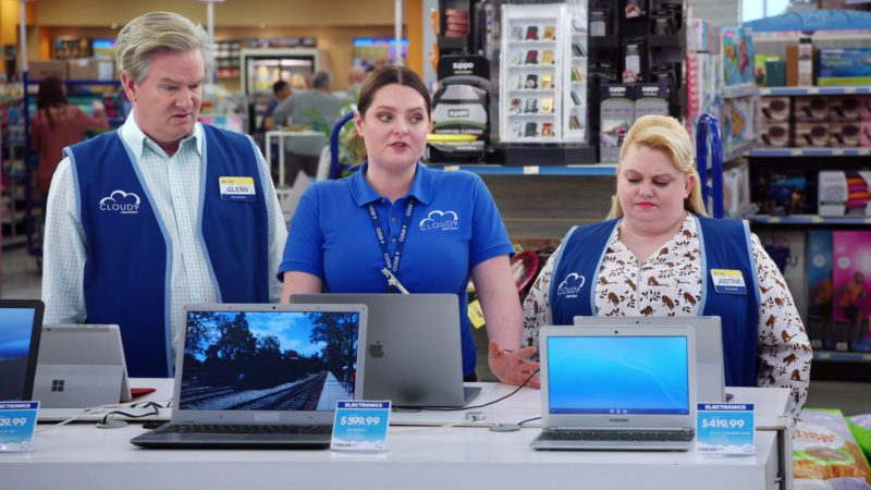 Apple MacBook Used by Lauren Ash, Microsoft Surface Laptop, Samsung Notebook & Zippo in Superstore - Season 4, Episode 20, Cloud9Fail (2019) - TV Show Product Placement