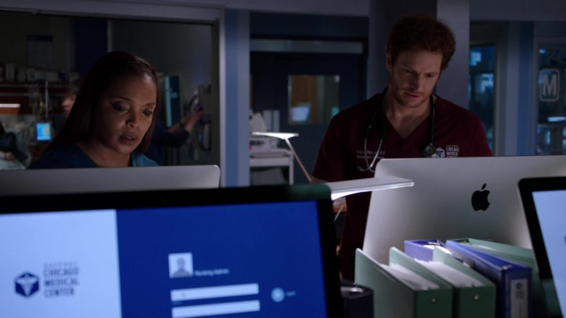 Apple iMac Computer Used by Nick Gehlfuss in Chicago Med - Season 4, Episode 20, More Harm Than Good (2019) TV Show Product Placement