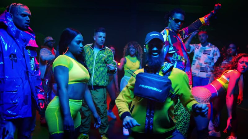 "Black Pyramid Yellow Jacket & Black Bag in ""Wobble Up"" by Chris Brown ft. Nicki Minaj, G-Eazy (2019) Official Music Video Product Placement"