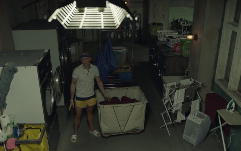 Boss Slide Sandals and Nike Headband Worn by Anthony Carrigan in Barry