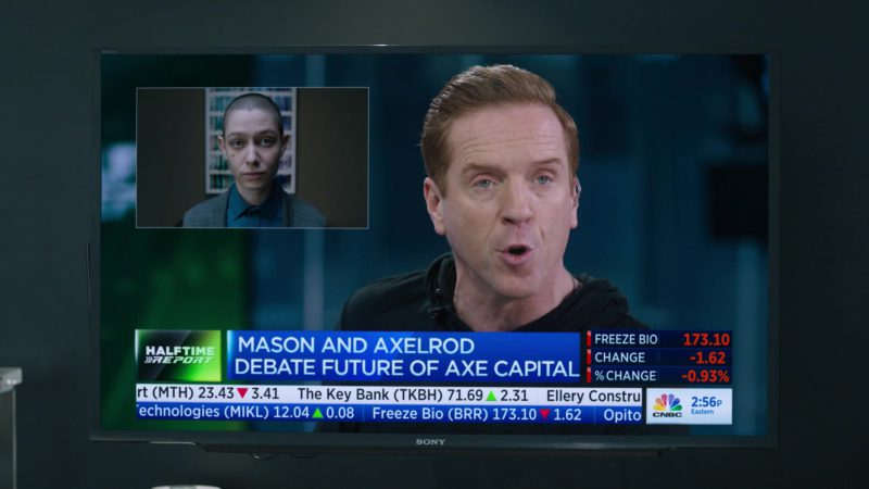 CNBC's Fast Money Halftime Report Starring Damian Lewis (Bobby Axelrod) & Sony TV in Billions - Season 4, Episode 8, Fight Night (2019) - TV Show Product Placement