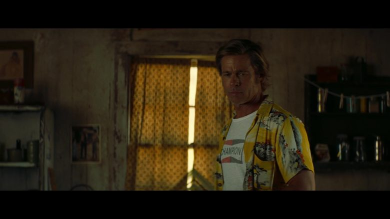 Champion Auto Parts T-Shirt Worn by Brad Pitt in Once Upon a Time in Hollywood (2019) - Movie Product Placement