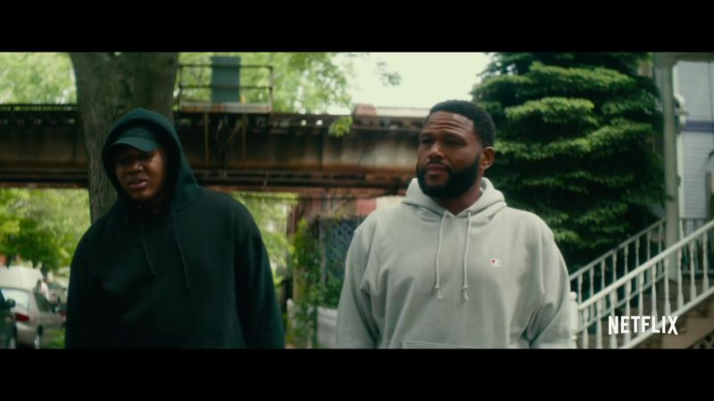 Champion Grey Hoodie Worn by Anthony Anderson in Beats (2019) Movie Product Placement