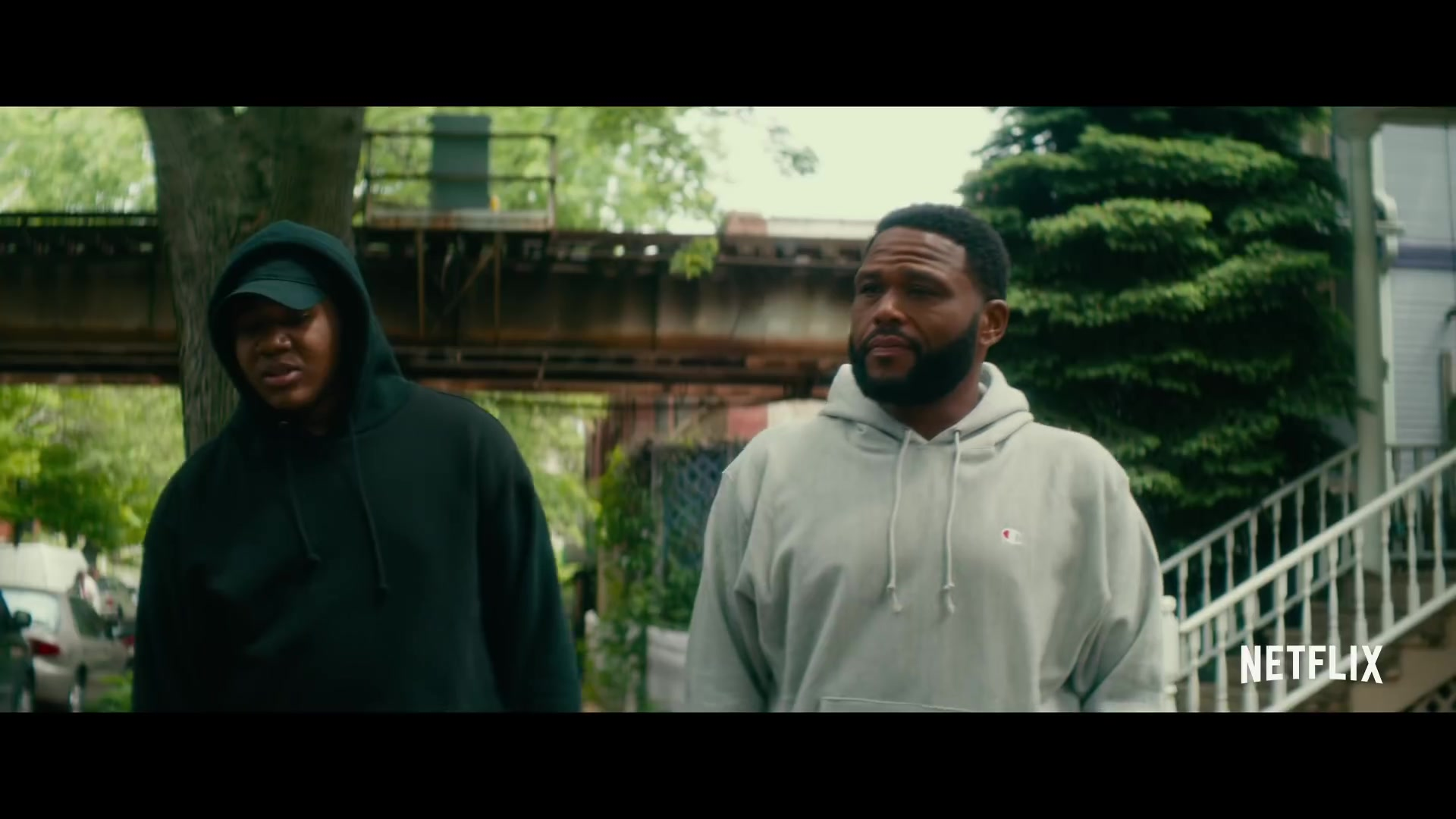 Champion Grey Hoodie Worn by Anthony Anderson in Beats (2019) Movie