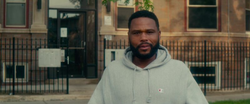 Champion Grey Hoodie Worn by Anthony Anderson in Beats (2019) - Movie Product Placement
