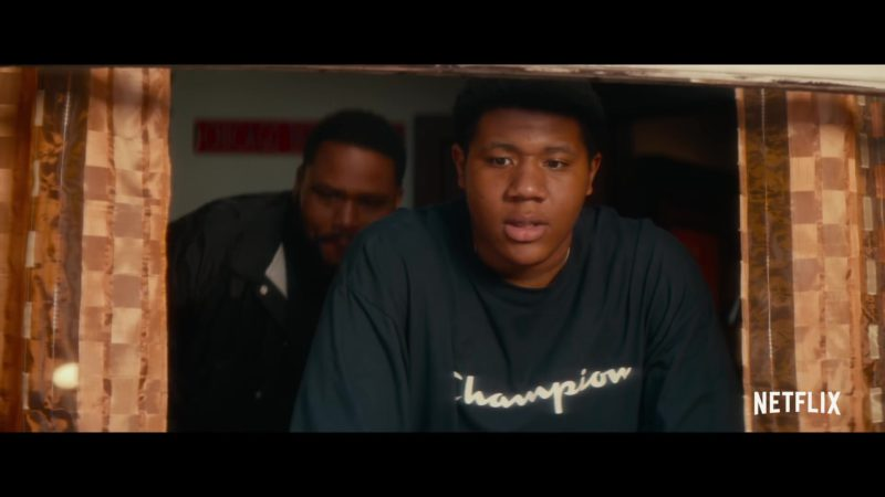 Champion Sweatshirt Worn by Khalil Everage in Beats (2019) - Movie Product Placement