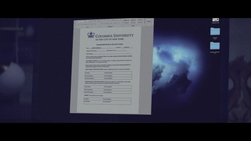Columbia University in the City of New York Email/Letter in The Last Summer (2019) Movie Product Placement