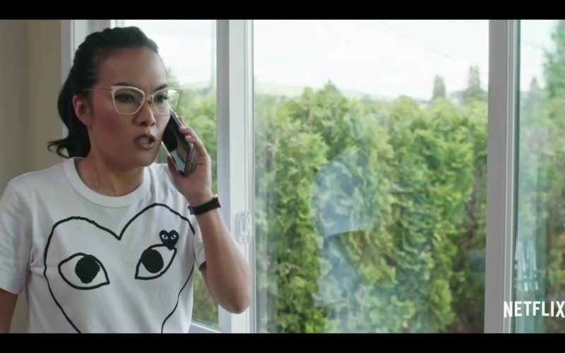 Comme des Garçons White T-Shirt With Hearts Logos Worn by Ali Wong in Always Be My Maybe (1)