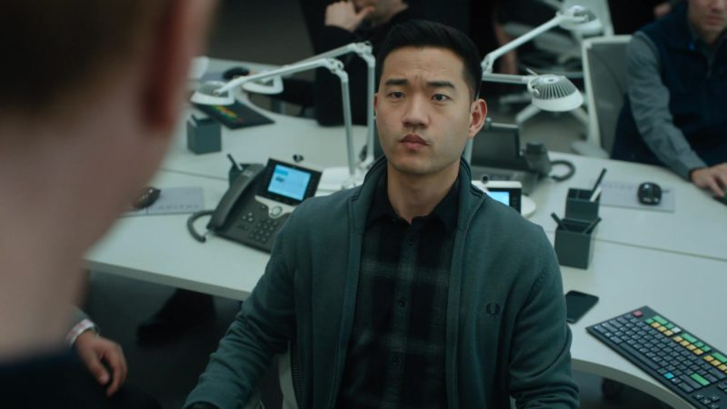 Fred Perry Cardigan Worn by Daniel K. Isaac (Ben Kim) in Billions - Season 4 Episode 9, American Champion (2019) TV Show Product Placement