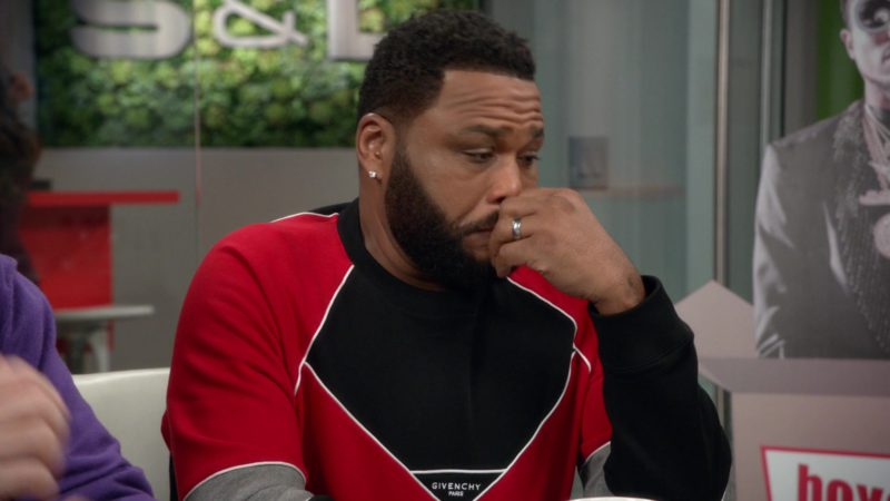 Givenchy Sweatshirt (Black & Red) Worn by Anthony Anderson in Black-ish - Season 5, Episode 23, Relatively Grown Man (2019) - TV Show Product Placement