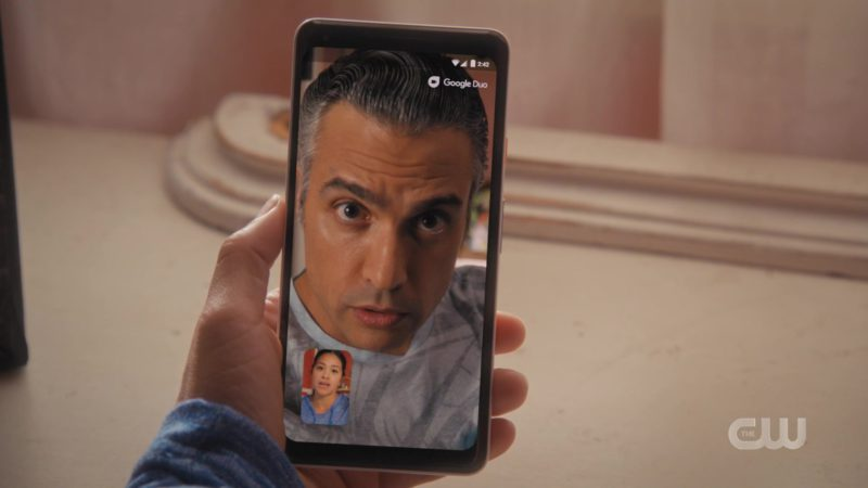 Google Pixel Smartphone Used by Jaime Camil in Jane the Virgin - Season 5, Episode 8, Chapter Eighty-Nine (2019) TV Show Product Placement
