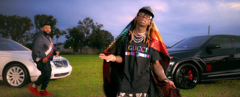 "Gucci T-Shirt, Cap and Scarf Worn by Lil Wayne in ""Jealous"" (2019) Official Music Video Product Placement"