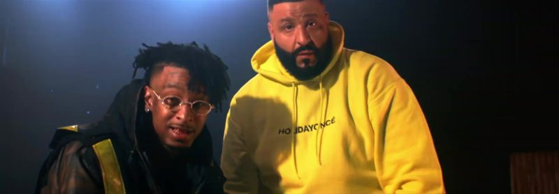 "Holidayoncé Yellow Hoodie (Collection by Beyoncé) Worn by DJ Khaled in ""Wish Wish"" ft. Cardi B, 21 Savage (2019) Official Music Video Product Placement"