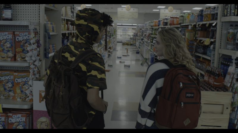 Jansport Backpack Used by Kathryn Newton, Cap'n Crunch Cereals & Coca-Cola in The Society - Season 1, Episode 2, Our Town (2019) - TV Show Product Placement